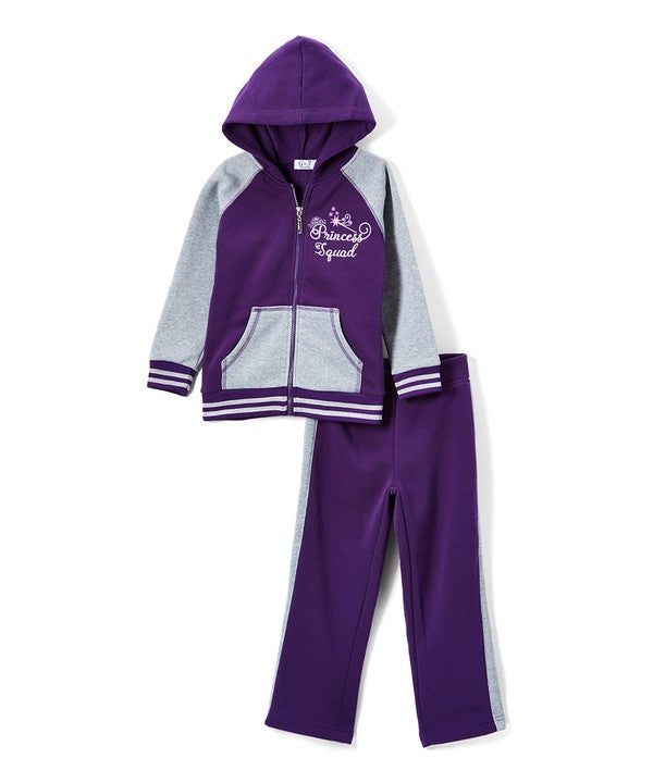 Girl's Two Piece Fleece Set Purple
