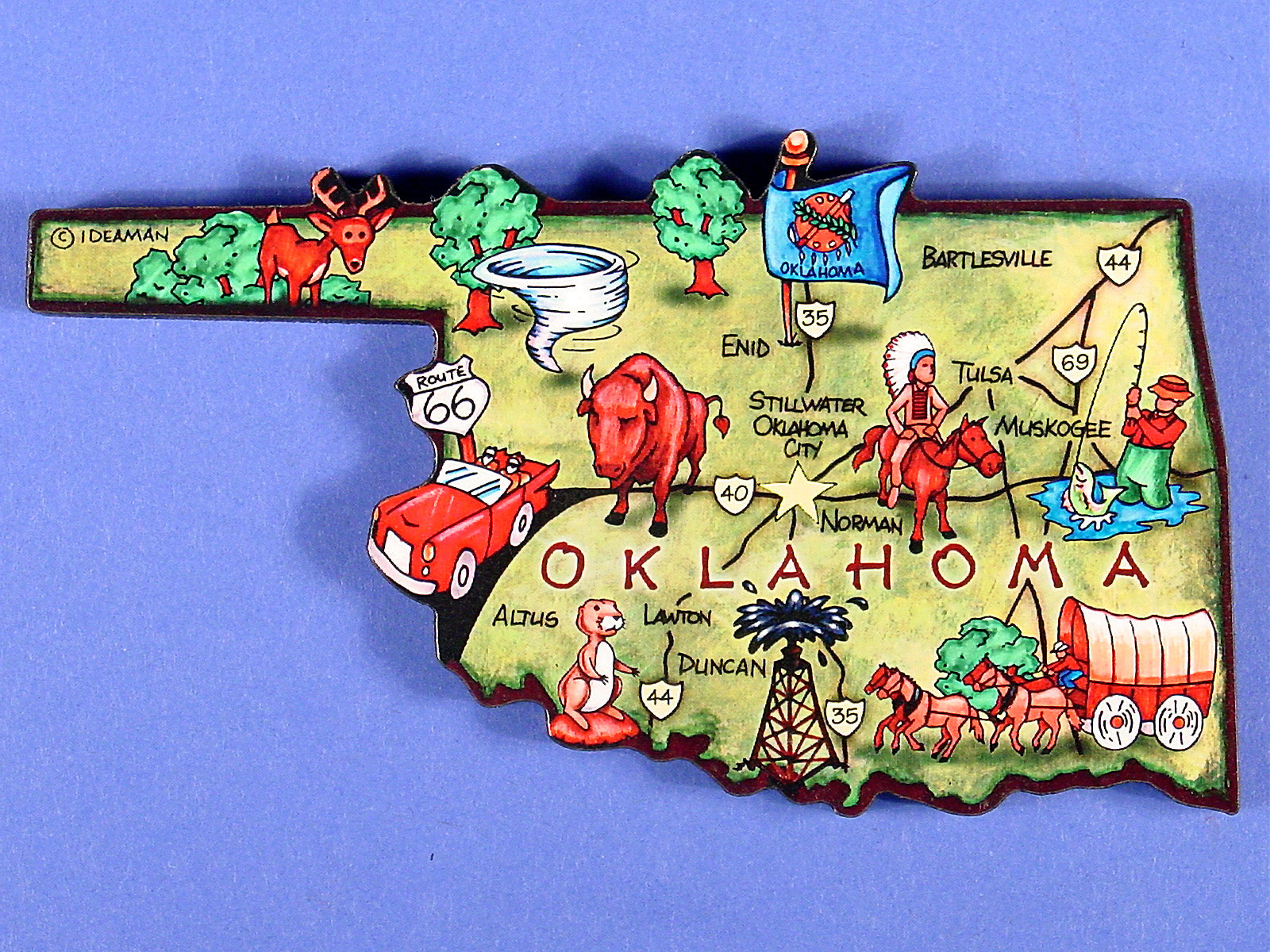 OK Artwood Map Magnet