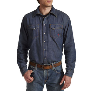 FR denim snap shirt