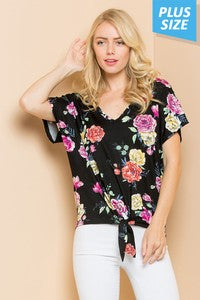 Plus size floral knot top