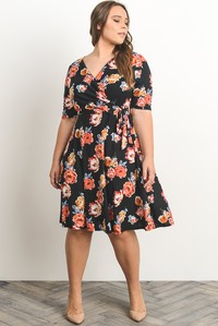 Plus dress navy floral