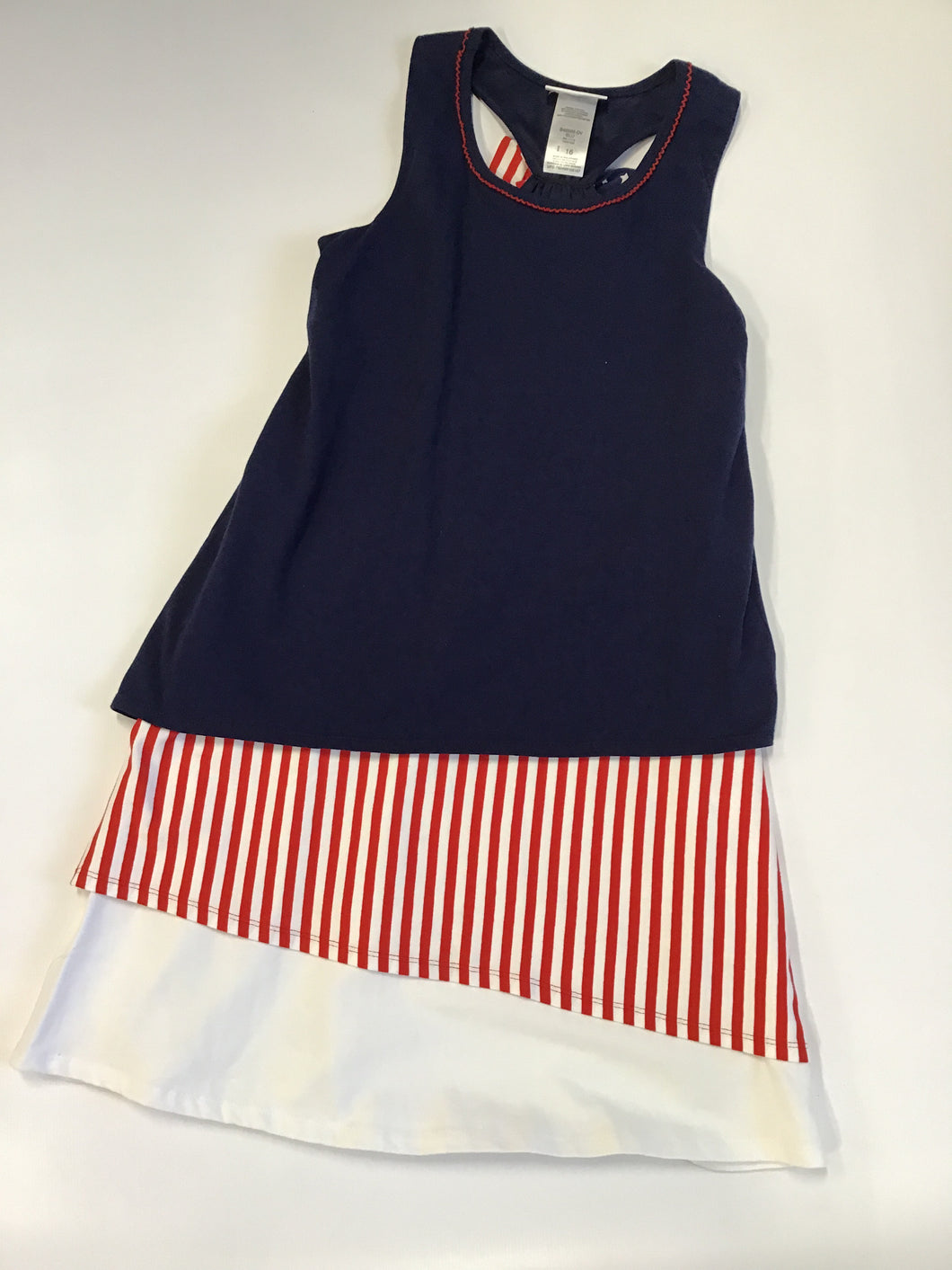 Bonnie Jean Navy Dress with Red/White Stripes S49566-DV
