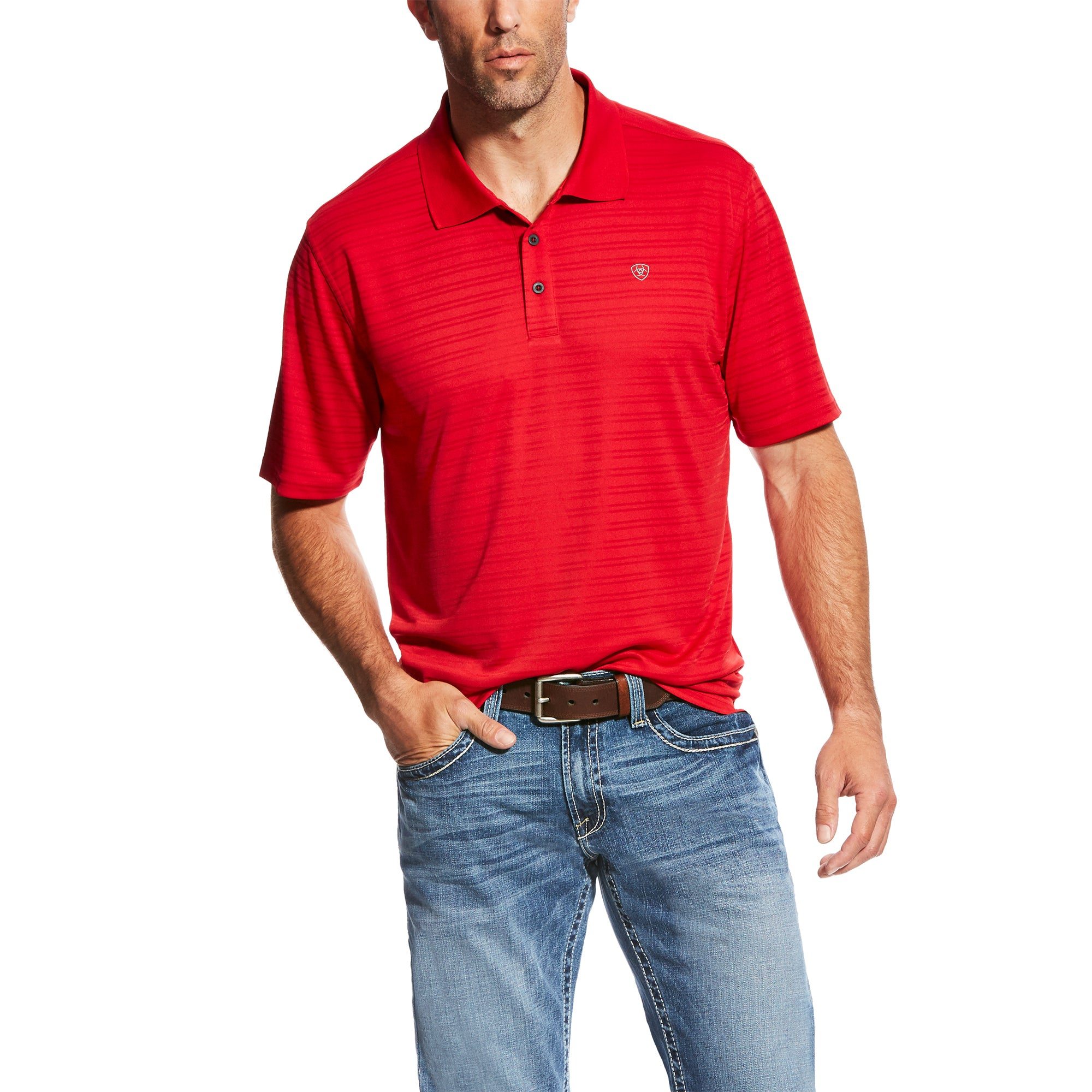 10022859 TEK Polo True Crimson Stripe