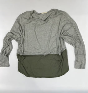 Gray and Olive Long Sleeve Top