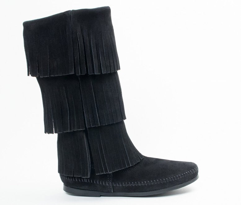 3 Layer Fringe Black Minnetonka - Women's