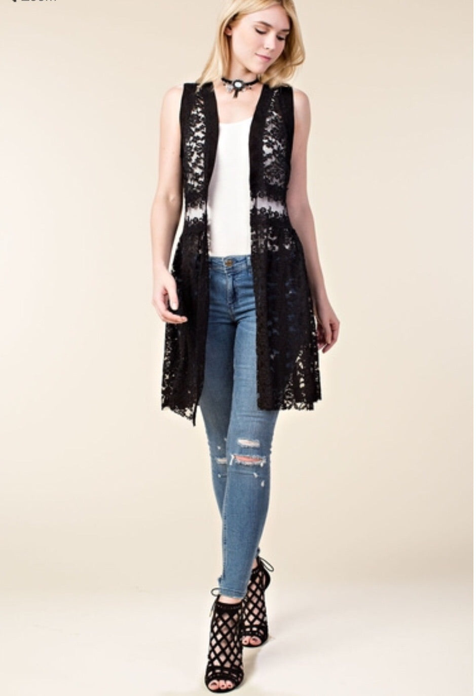 Import Lace Vest with Stone Black