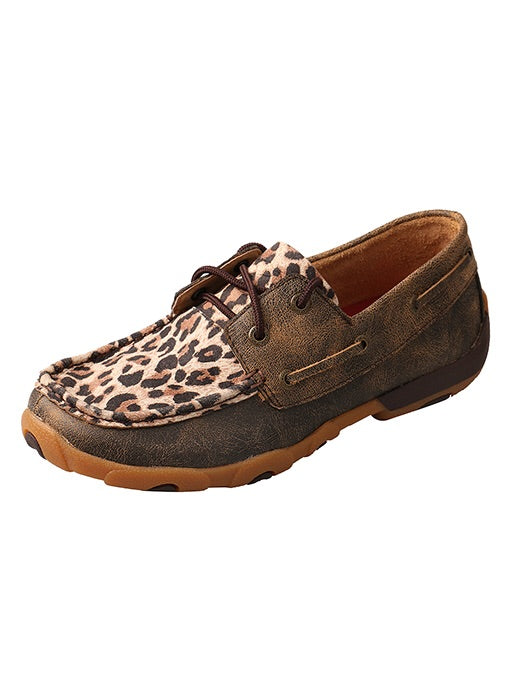 WDM0057 Women's Driving Moc Brown Leopard