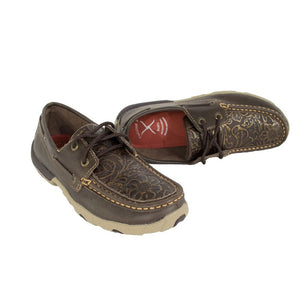 WDM0070 Women's Driving Mocs Brown/Emboss Flower