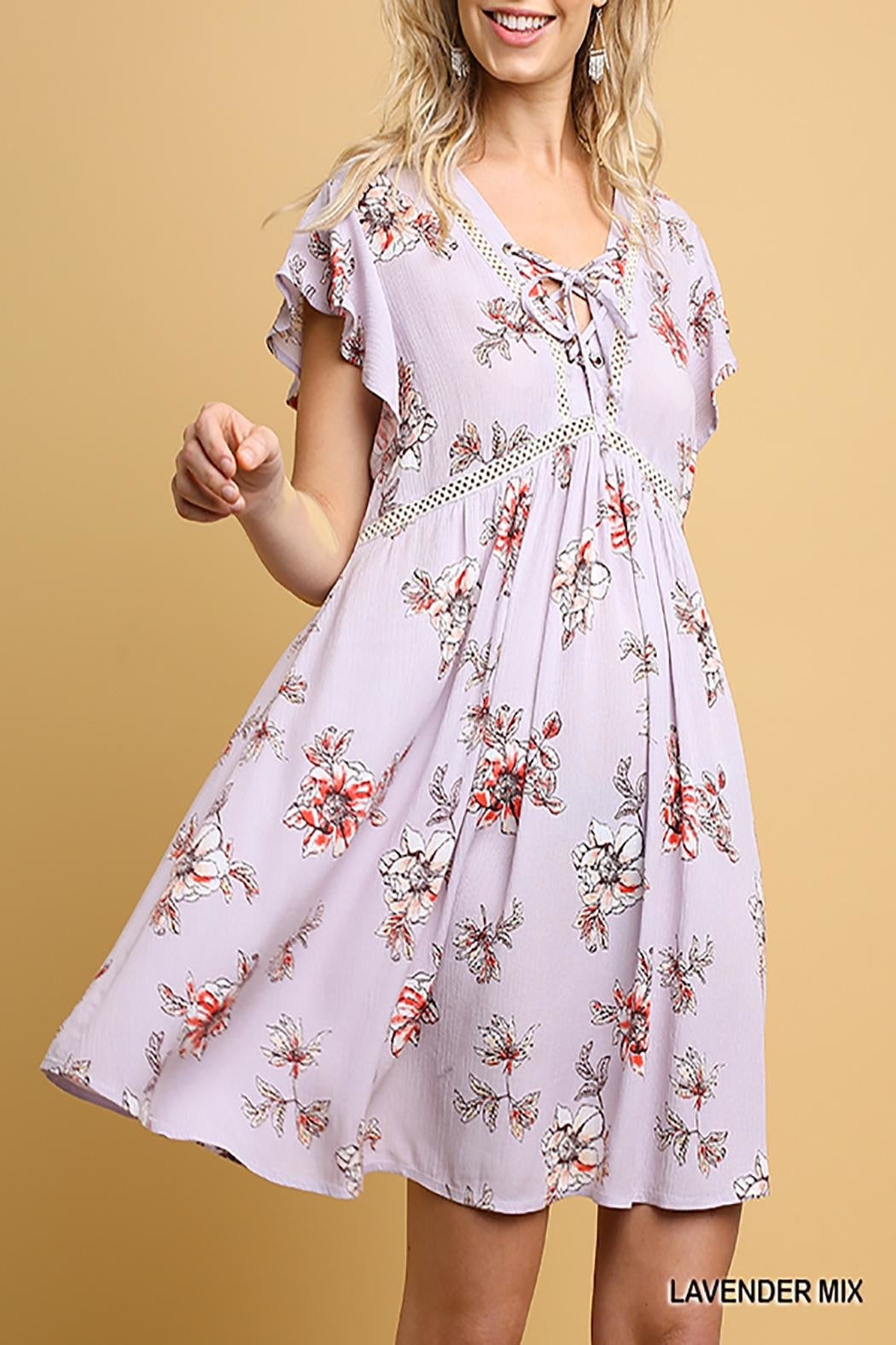 Floral print butterfly sleeve babydoll dress
