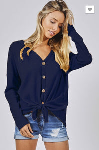 Navy Thermal Knit Buttoned Top