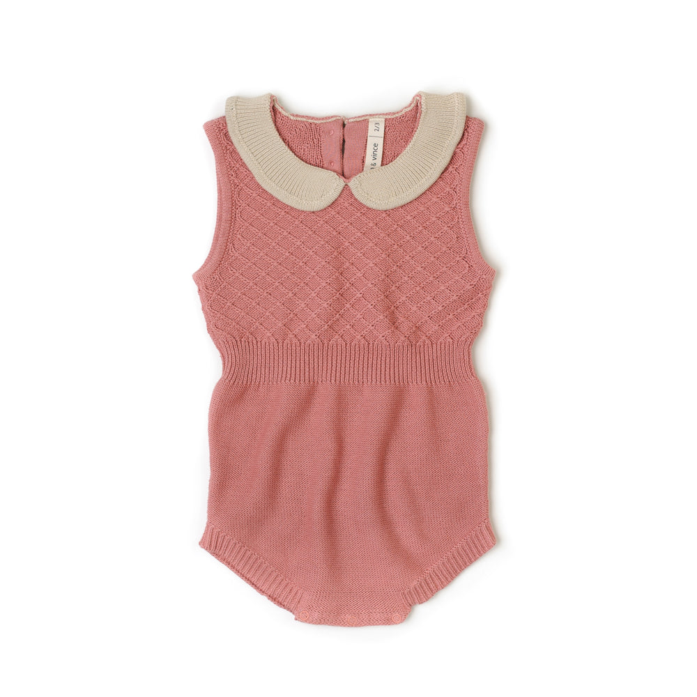 Fin & Vince Knit Collar Romper - Dusty Rose