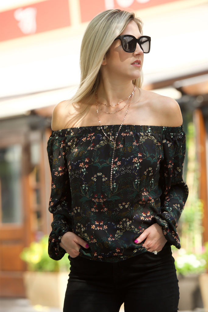 72936b811e0d76 Ava by Buddy Love - Off-shoulder Floral Blouse