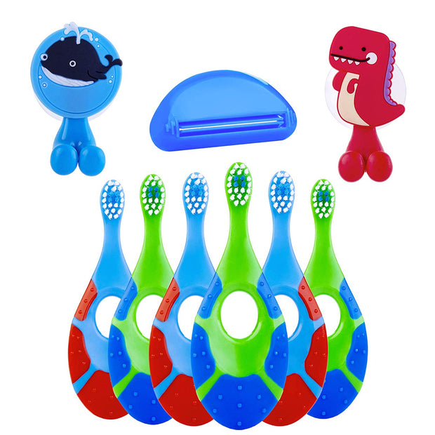 9 Pack - Baby Toothbrush, 0-2 Years, Soft Bristles, BPA Free | Toddler Toothbrush, Infant Toothbrush, Training Toothbrush, Includes 6 Toothbrushes, 2 Toothbrush Holders, 1 Toothpaste Squeezer (Boy)