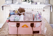 Farber Baby Diaper Caddy Organizer | Large Baby Diaper Organizer Portable Storage Basket for Baby Needs | Nursery Changing Table Storage Bin | Car Organizer for Diapers Baby Wipes (Pink) (Dark)