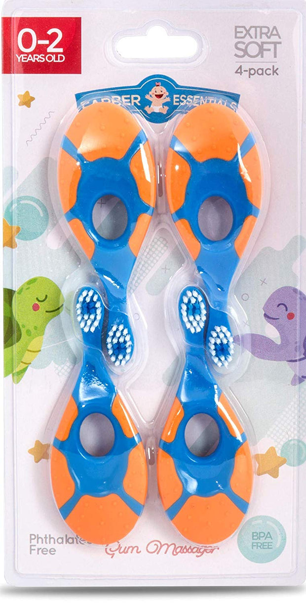 Farber Baby Toothbrush & Toddler Toothbrush For 0-2 Years Old | BPA Free with Baby Toothpaste Indicator | Extra Soft Bristles | Infant Toothbrush (4 pack) - Orange/Blue