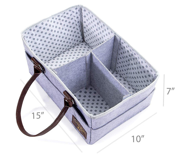 Farber Baby Diaper Caddy Organizer | Large Baby Diaper Organizer Portable Storage Basket for Baby Needs | Nursery Changing Table Storage Bin | Car Organizer for Diapers Baby Wipes (Pink) (Light Gray)
