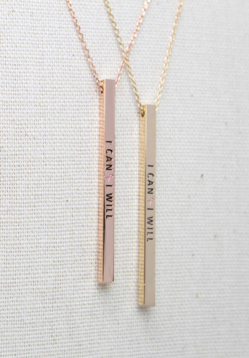 I Can I Will Mantra Bar Necklace