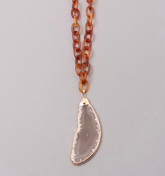 Tortoise Sliced Agate Pendant Necklace
