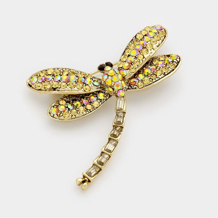 Goldie Crystal Mini Dragonfly Pin