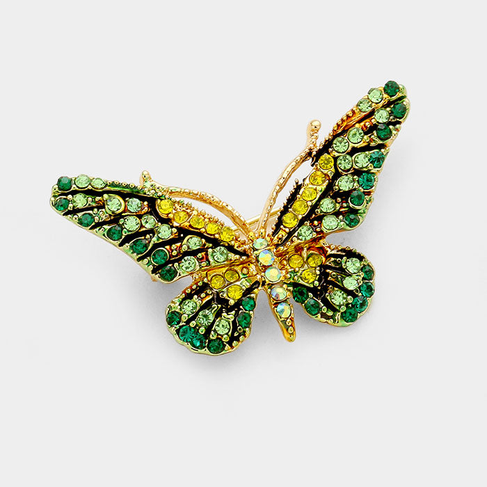 Pave Crystal Mini Butterfly Pin