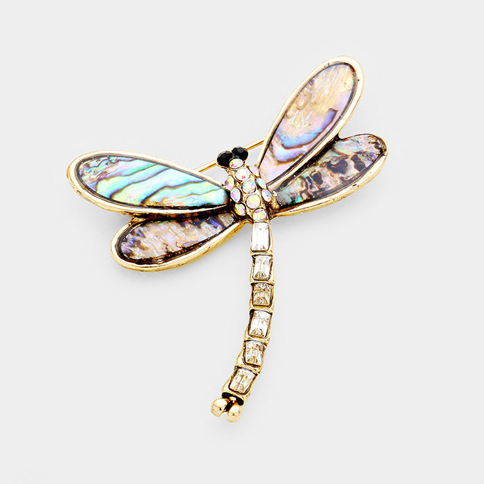 Abalone Pave Mini Dragonfly Pin