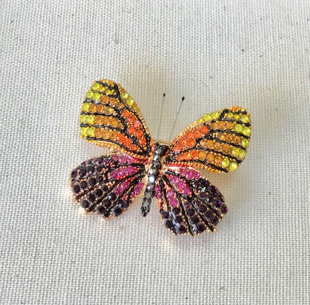 Multi Color Crystal Pave Butterfly Pin
