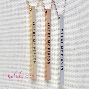 You're my person Mantra Bar Necklace