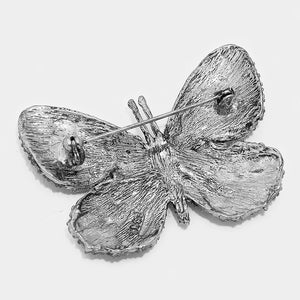 Black Crystal Pave Butterfly Pin