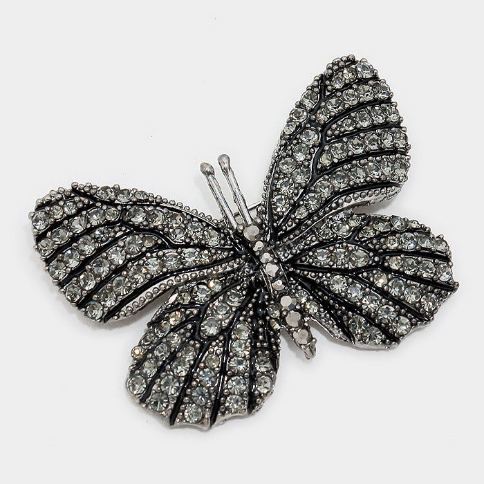 Black Crystal Pave Butterfly