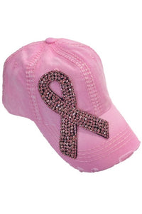 Crystal Pink Ribbon Cap