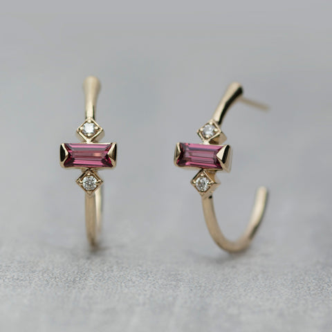 Apex Hoop Earrings - Rhodolite garnet & diamonds (pair)