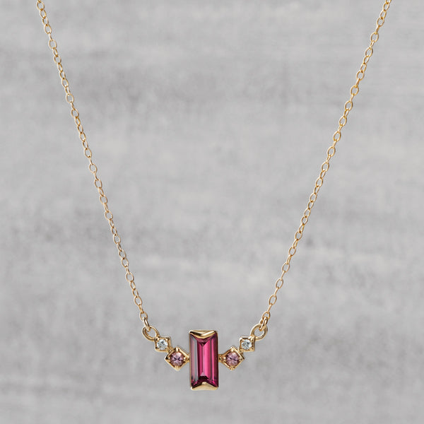 Apex Necklace - Rhodolite garnet, pink sapphires & diamonds