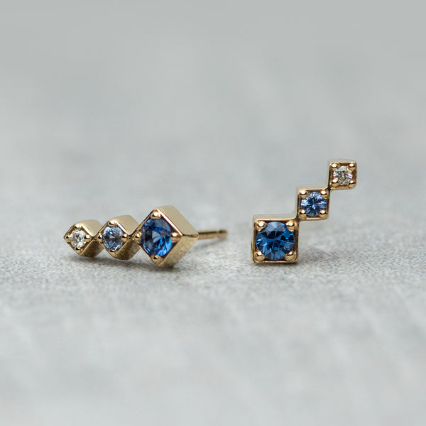 Axis Climber Earrings - Blue sapphires & diamond (pair)