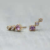 Axis Climber Earrings - Pink sapphires & diamond (pair)