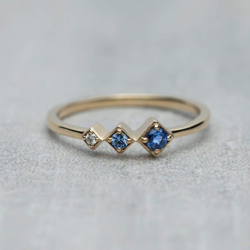 Axis Ring - Blue sapphires & diamond