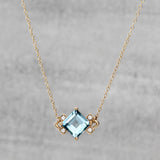 Nucleus Necklace - Sky blue topaz & diamonds