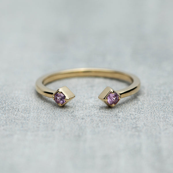 Open Ring - Pink sapphires / Dusk pink