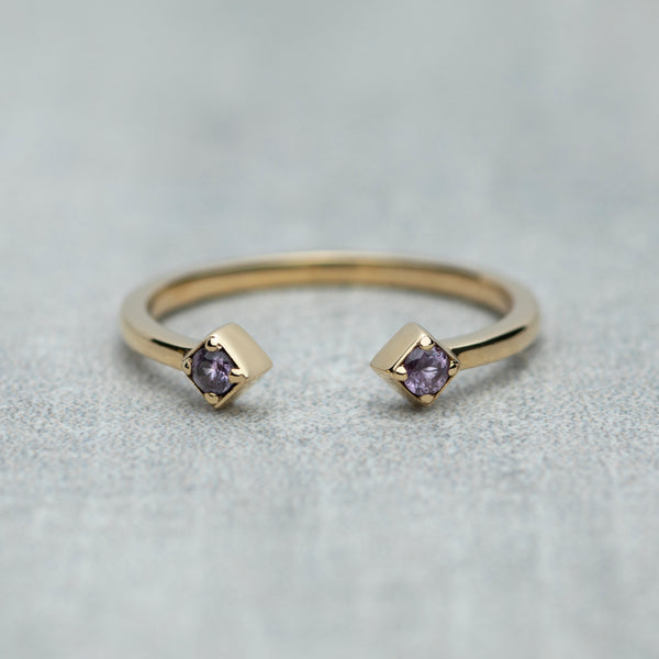 Open Ring - Pink sapphires / Twilight pink