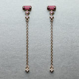 Prism Dangle Earrings - Rhodolite garnet, pink sapphires & diamond (pair)