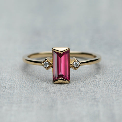 Prism Ring - Rhodolite garnet & diamonds