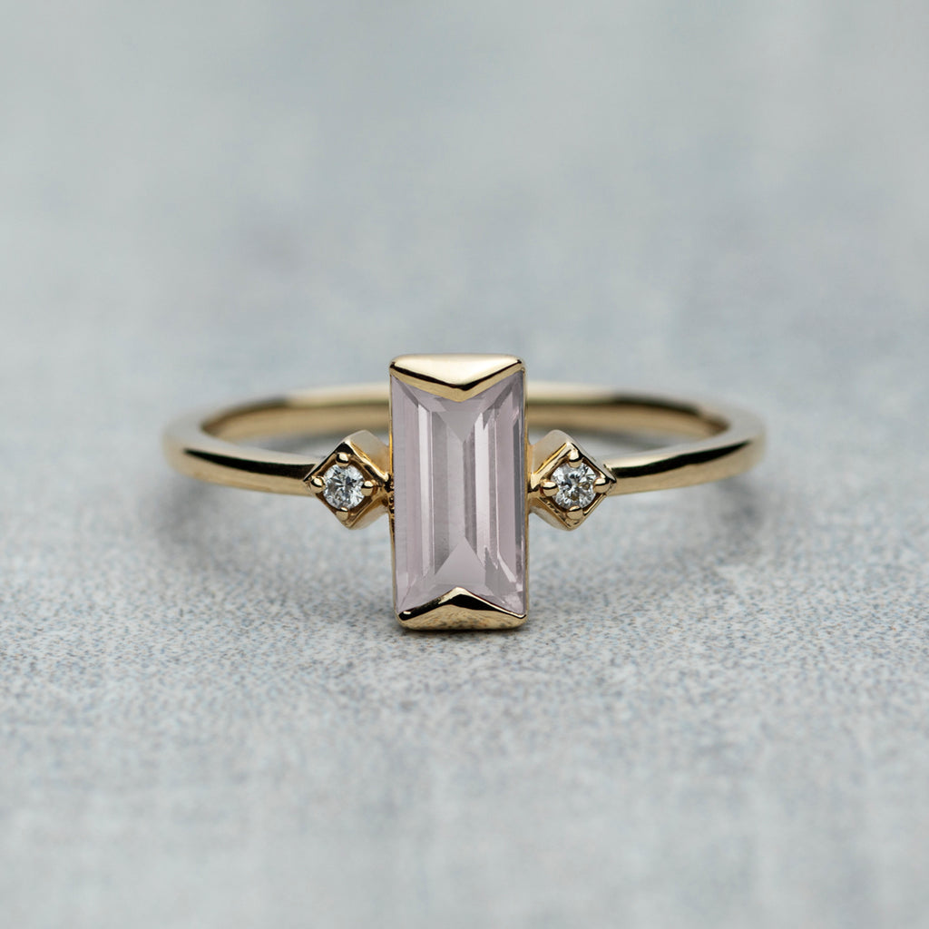 Prism Ring - Rose quartz & diamonds