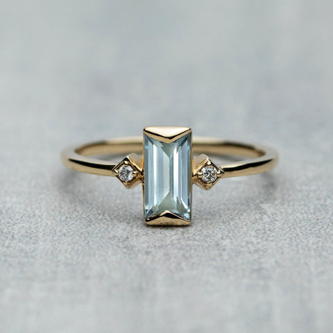 Prism Ring - Sky blue topaz & diamonds