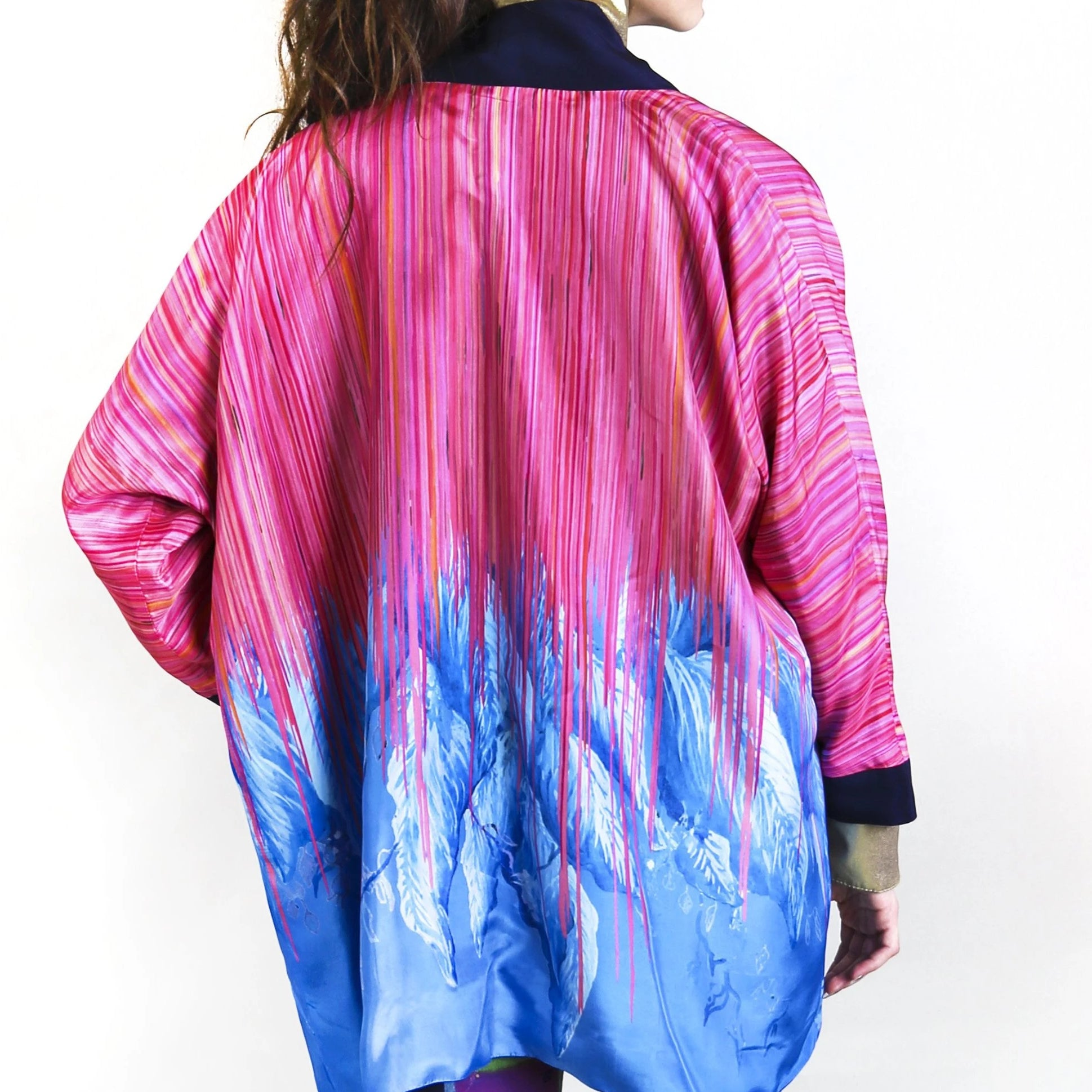 Silk Kimono Pink and Blue - Davina Shefet Art Store
