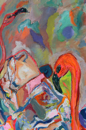 Flamingo Couple Original Square Painting