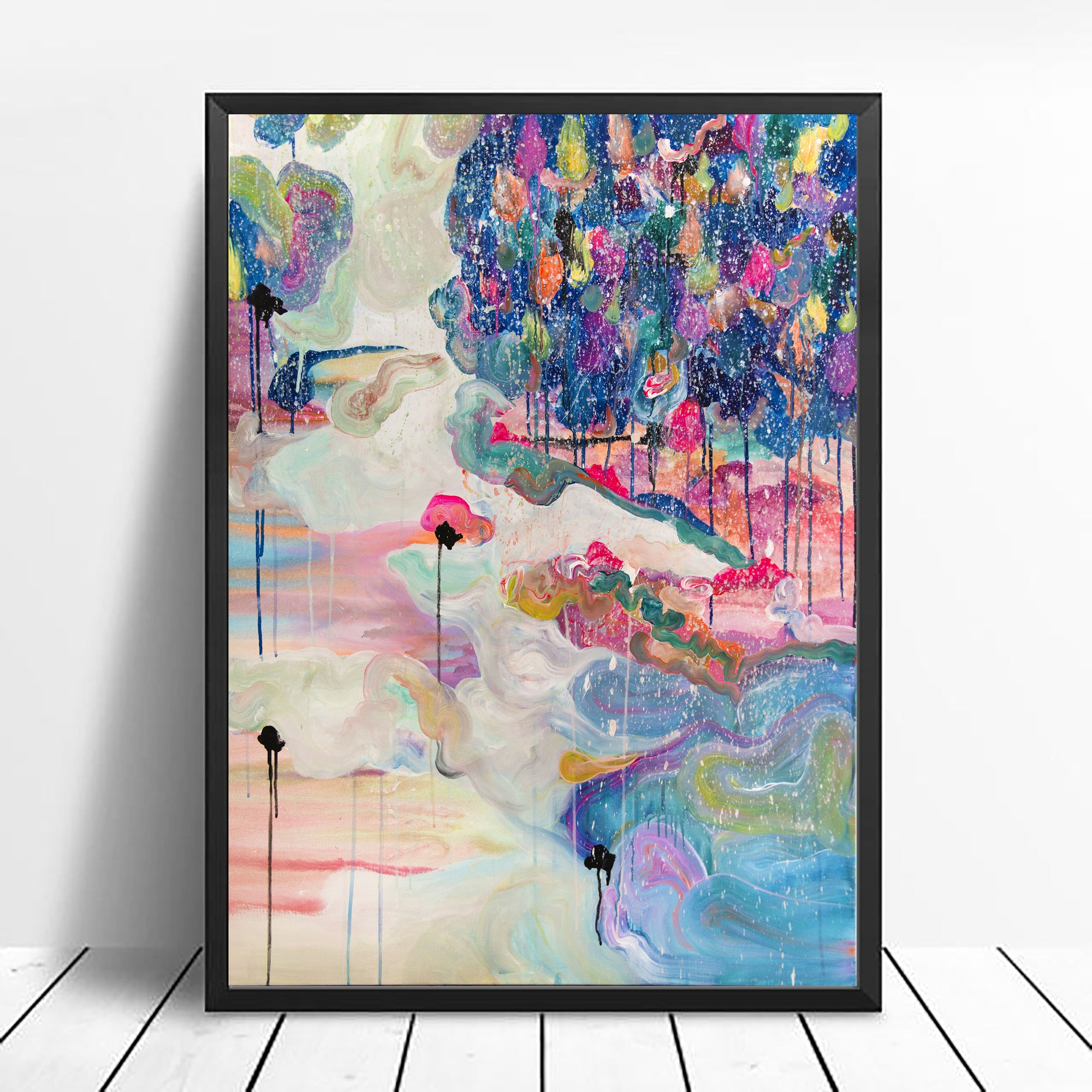 "Art Print of Abstract Landscape ""Forest in the snow"" - Davina Shefet Art Store"