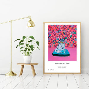 Pink Poster Royal Dog - Davina Shefet Art Store