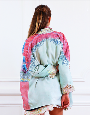 "Kimono ""Le Jardin d'Hiver"" hand painted piece - Collection Unique Piece - Davina Shefet Art Store"