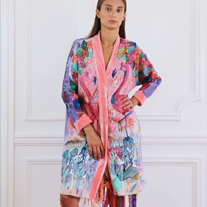 "Kimono ""Flamingo"" hand painted piece - Collection Unique Piece"