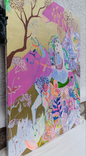 The Woman on a Horse - Original Painting, Series Lovers in Persian Colours