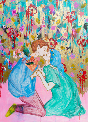 First Kiss, Original Painting, Series Lovers in Persian Colours